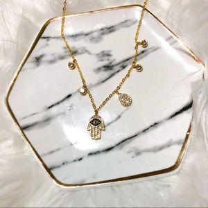 Jewelry - Gold Vermeil Hamsa Evil Eye Charm Necklace